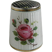 A David Andersen sterling silver and enamel thimble.
