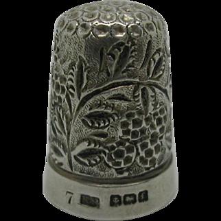 A blackberry design silver thimble. HM. 1905