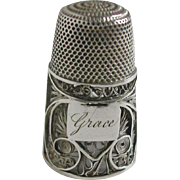An English silver filigree thimble. c 1815