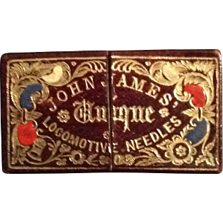 Victorian tooled leather needle packet box.