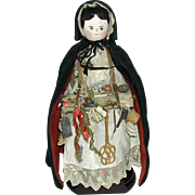 A peddler / pedlar doll with a tray of delights! c 1900