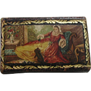 A leather needle packet case with Baxter style prints. c 1850