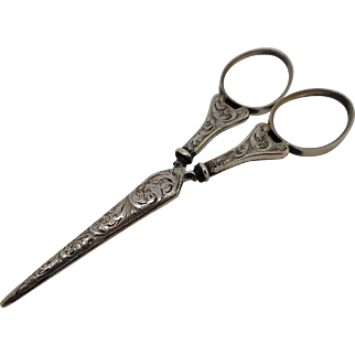 Engraved silver scissors and blade sheath. c 1840