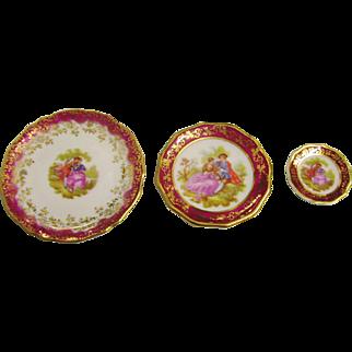 Three miniature porcelain plates.  Limoges. Fragonard.
