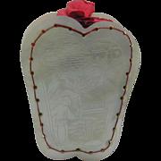 Engraved Oriental scenes pearl pin cushion.