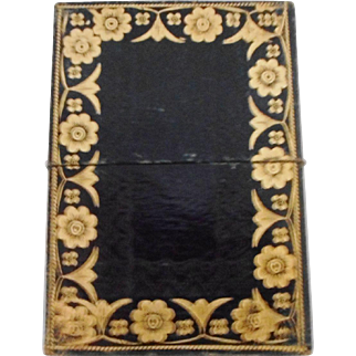 A Victorian tooled leather visiting card case. c 1840