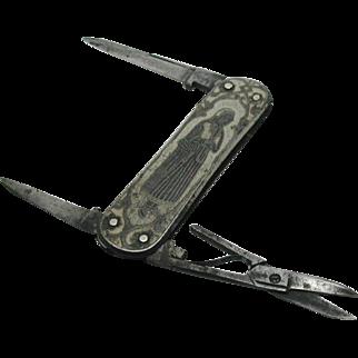 An engraved steel multi tool. Swedish c 1880