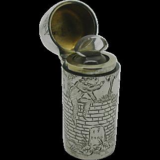 Rare Sampson Mordan silver scent bottle- Kate Greenaway design. London 1884