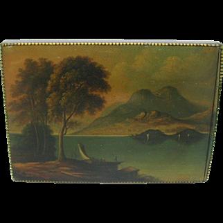 Tartan Ware scenic visiting card case. Campbell clan tartan.
