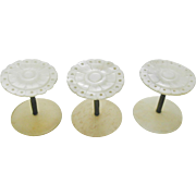 Set of 3 matching mother of pearl cotton reels / spools. 19thc