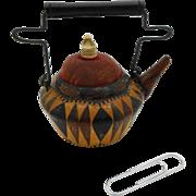 A rare Tunbridge Ware 'kettle' pin cushion.
