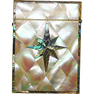 A very pretty mother of pearl visiting card case. c 1850