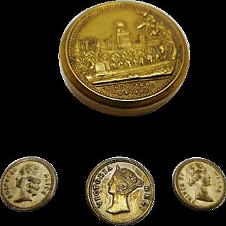 A mini Windsor Castle brass box and three commemorative coins. c 1850