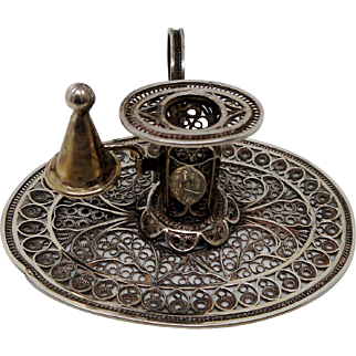 A small silver filigree chamber candle stick. c 1800