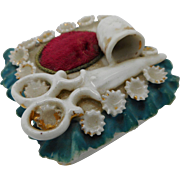 A novelty pin box- sewing accessory. 19th century