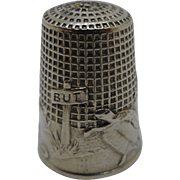French silver fable thimble- hare and tortoise. c 1900