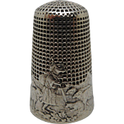 French Fable silver thimble- fox disguised as shepherd. c1900