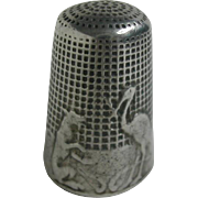 Art Nouveau French fable thimble -fox and stork variant. c 1900
