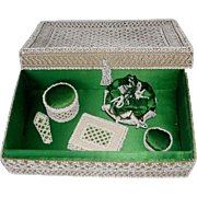 A wonderful bead work sewing box with matching accessories. c 1840