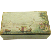 A Baxter style needle packet box. Le Blond c 1850