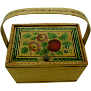 A darling little Painted Tunbridge Ware sewing basket. c 1800