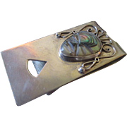 Vintage Inca, Myan sterling silver, shell money clip
