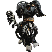 Vintage  Original by Roberts jeweled, enamel black shaggy dog brooch