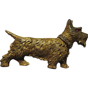 Early 1950's brushed gold tone Scottie dog.