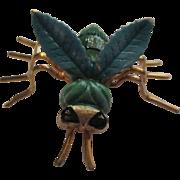 Enamel green bee brooch