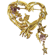 Collectable Kirks Folly jeweled fariy heart Brooch