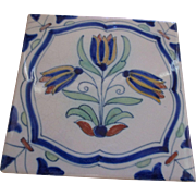 Collectable Hand painted Tulip tile Hallmarked