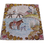 Collectable Fabulous hand painted folk art tile