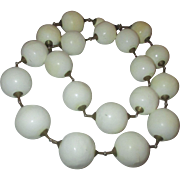 Vintage Odd and Unique paper mache round ball white necklace