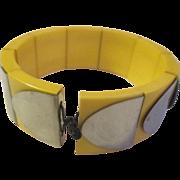 Vintage expandable celluloid, silver shield bracelet