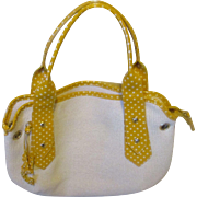Roberta Gandolfi yellow polka dot leather, cotton hand bag ( Italy )