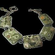 Crinoidal limestone ( invetebrate animal fossil ) Sterling bracelet