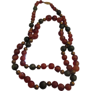 Carnelian, moss agate, brass necklace