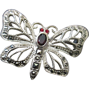 Vintage sterling filligree jeweled butterfly brooch