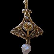 Art Nouveau 14k yellow gold, pearls, aquamarine, diamond pendant
