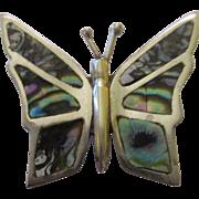 Vintage sterling 925 shell butterfly brooch