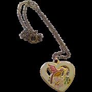 Vintage 1970's guilloche heart necklace