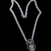 Sparkling blue and clear swarovski 925 owl, 10k white gold necklace