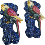 Mid Century matching pair of Love Birds wall pockets