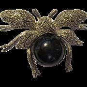 Vintage large jeweled bug brooch