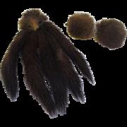 Mink fur cuff links and long brooch/pin set