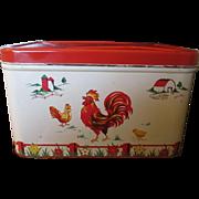 Vintage Decoware chicken farm house scene bread box