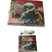 Collectible Memory of Okinawa cigarette case and lighter
