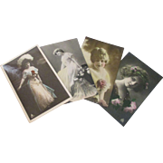 Vintage 1909-1910 Art Noveau hand tinted real photo postcards Glamour  ladies