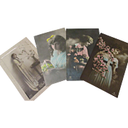 Beautiful 1920-1925 Glamour hand painted post cards