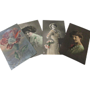 Early 1920's Glamour girls hand painted x 4 post cards one special effect